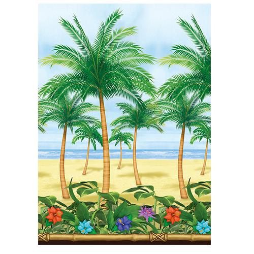 Strandzicht palmbomen doek 1220cm x 122cm
