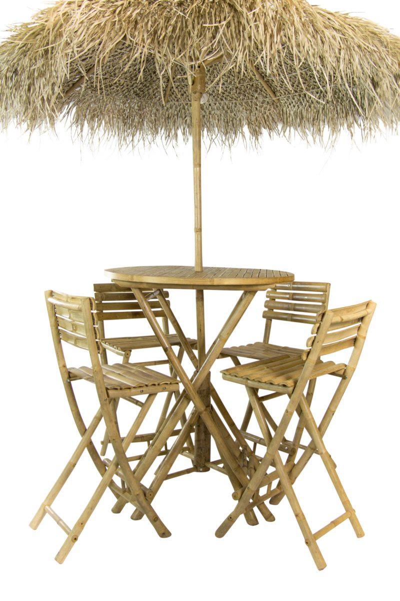 Hoge Rieten Parasolset Hawaii D180cm 4 x bamboe kruk