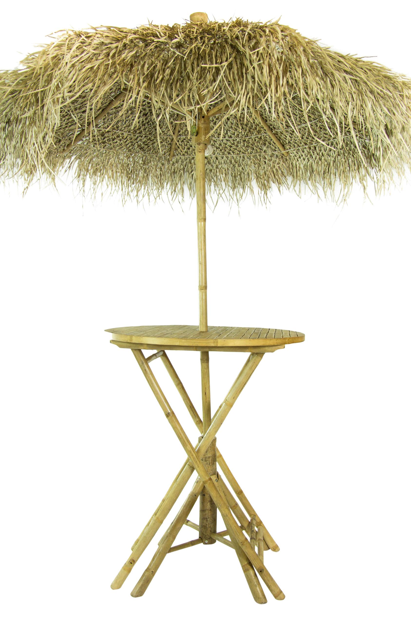 Bamboe Statafel Set met Rieten Parasol