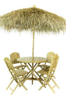 BamboeParasolset met Lage Bamboe Klapstoelen