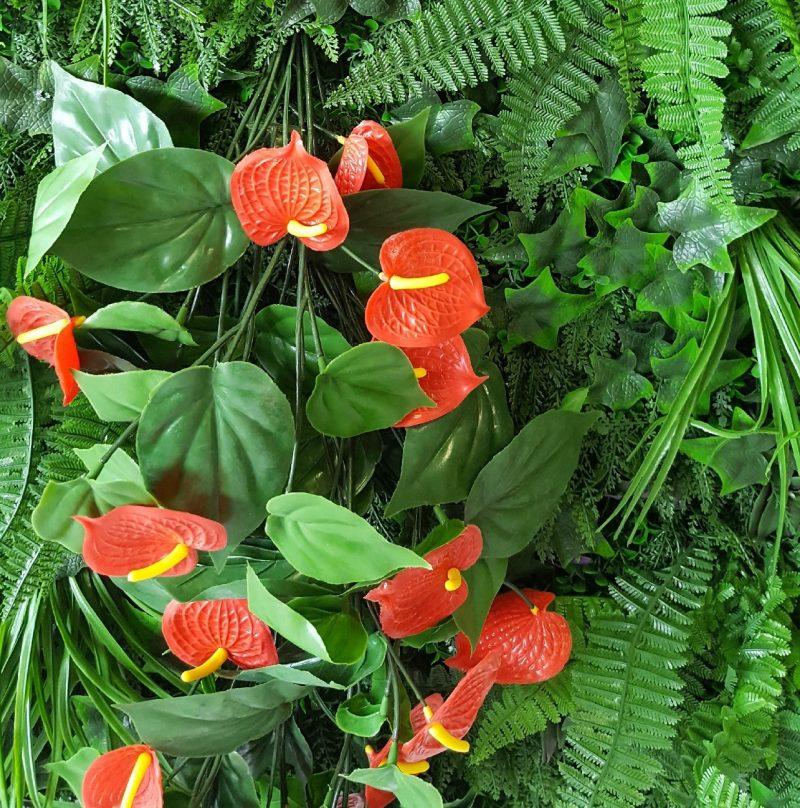 Kunstplant Sedum Wand Anthurium