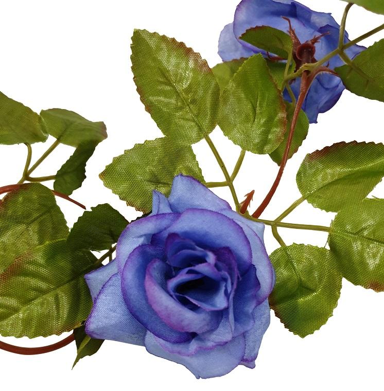 Paars Blauwe Kunstrozen Slinger 220cm