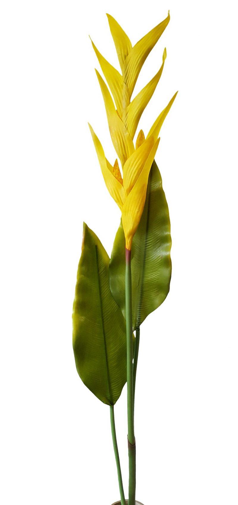 Gele Kunstpapegaaibloem 115cm