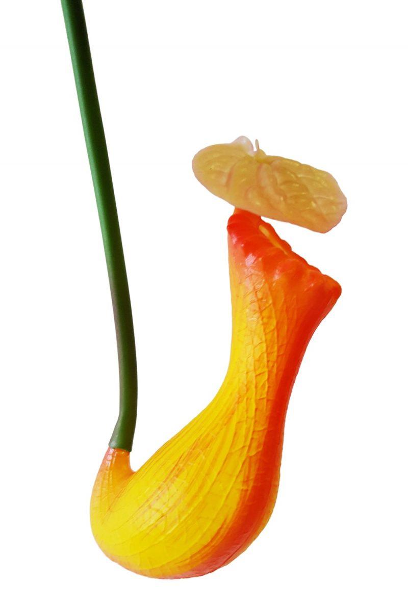 Kunst Vleesetende Planten Kelk Oranje-Geel 66cm