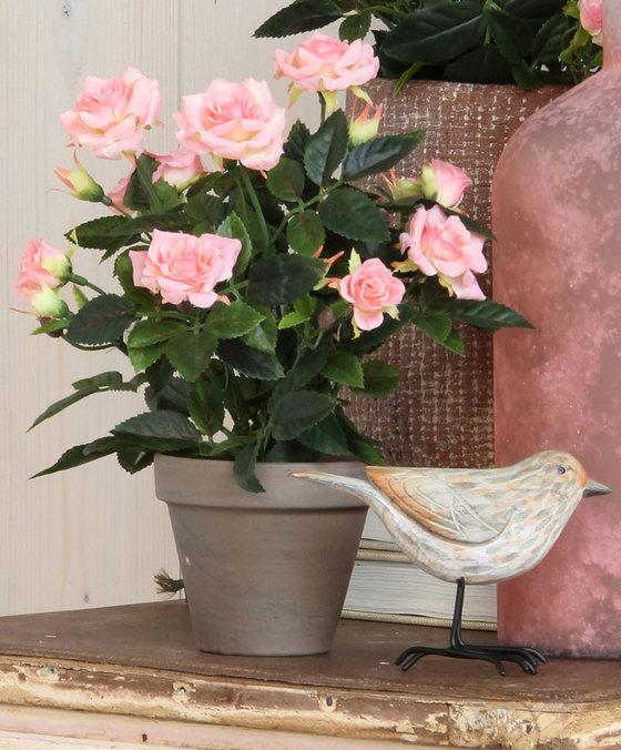 Roze Kunstrozen Plant in Pot 34cm