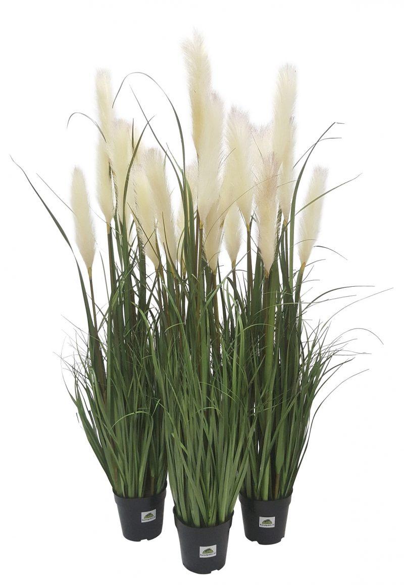 Kunst Siergras met Witte Pluimen 120cm