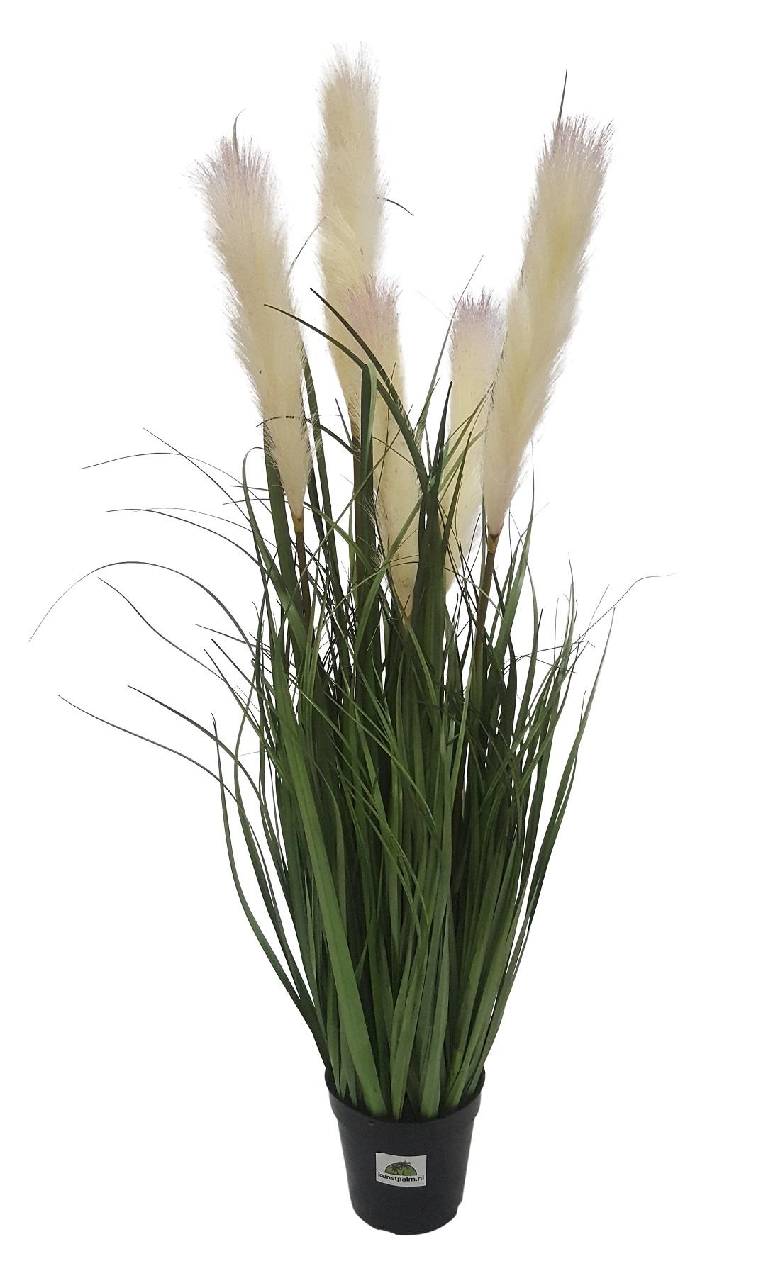 Kunst Siergras met Witte Pluimen 90cm