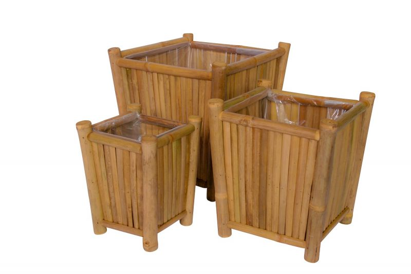 Bamboe plantenbakken vierkant 30cm