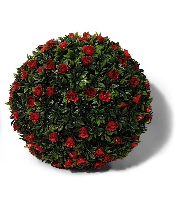 Kunst Buxus Bol Met Rode Bloemen 32cm