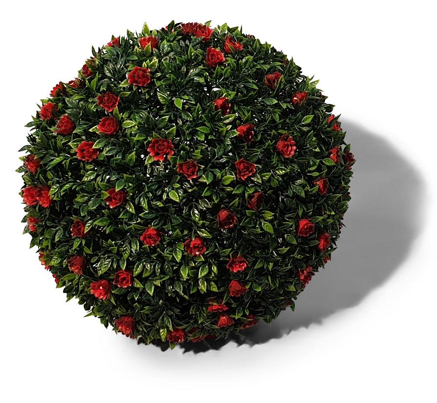 Kunst Buxus Bol Met Rode Bloemen 42cm