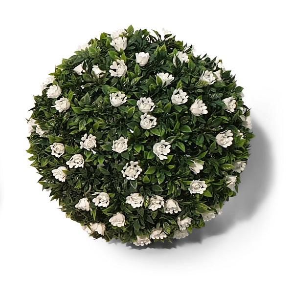 Kunst Buxus Bol Met Witte Bloemen 32cm