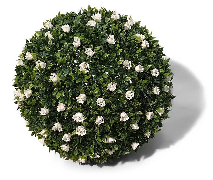 Kunst Buxus Bol Met Witte Bloemen 42cm