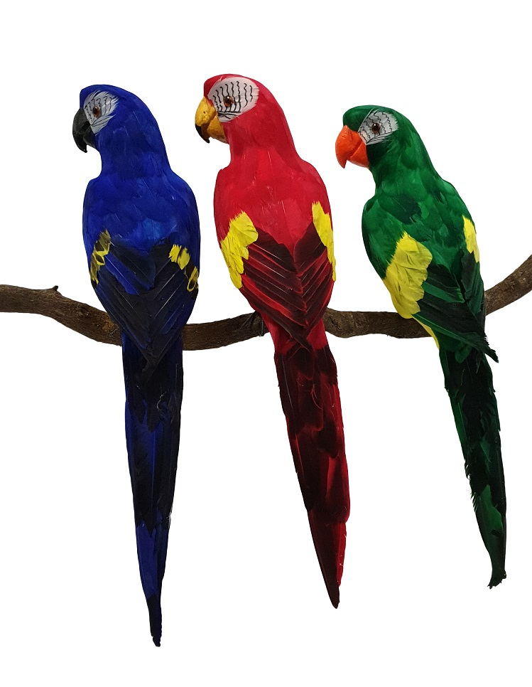 Grote Decoratieve Papagaai Geel Blauw 60cm