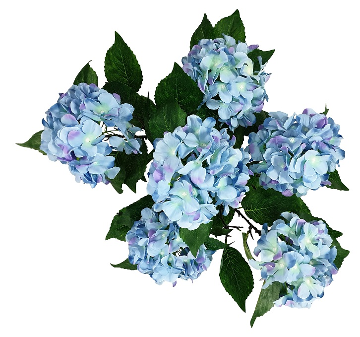 Grote Blauwe Kunst Hortensia 70cm van Kunstpalm.nl