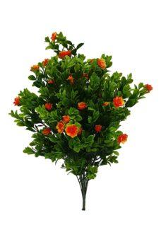 Kunst Buxusplant Steker met Oranje Bloemen 50cm