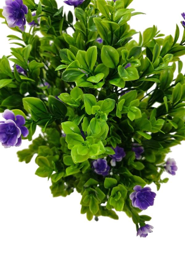Kunst Buxusplant Steker met Paarse Bloemen 50cm