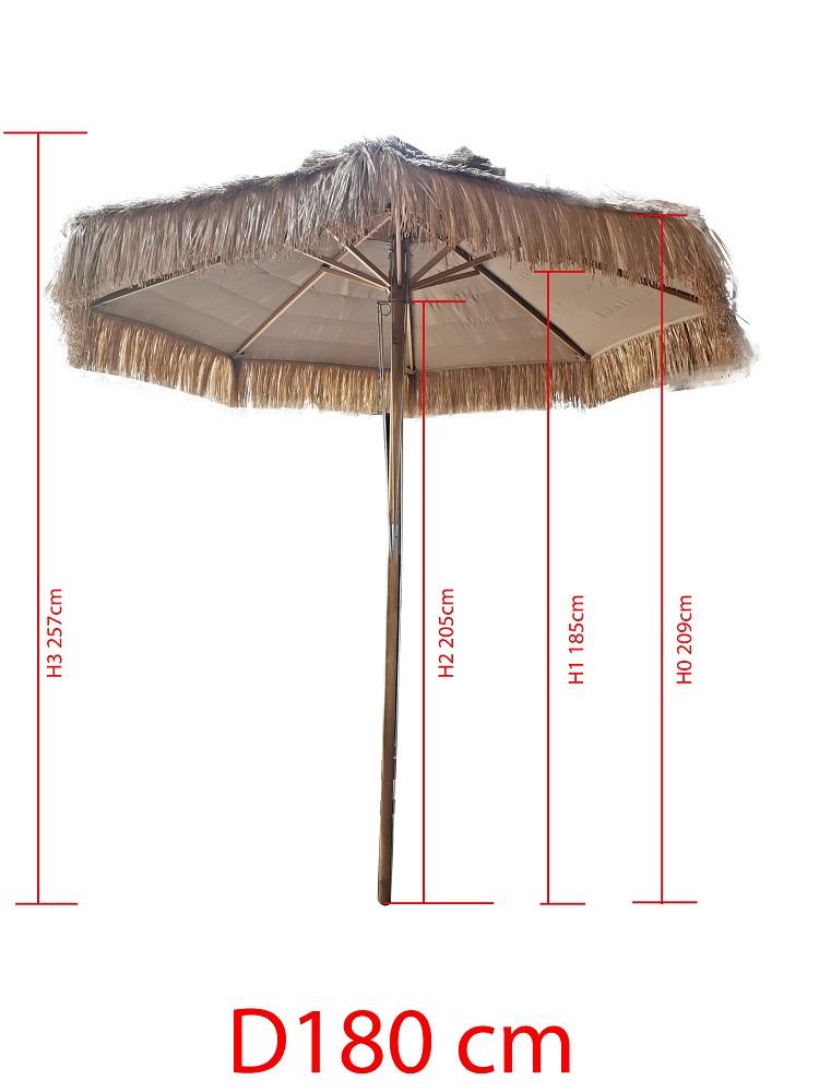 Kunst Rieten Parasol D180
